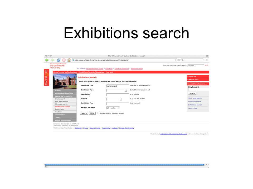 Exhibitions search
