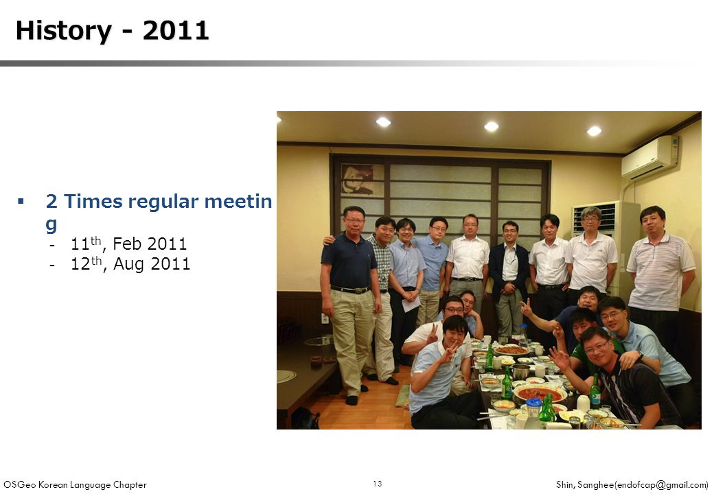 OSGeo Korean Language Chapter Shin, Sanghee(endofcap@gmail.com) 13 History - 2011 History - 2011  2 Times regular meetin g -11 th, Feb 2011 -12 th, Aug 2011