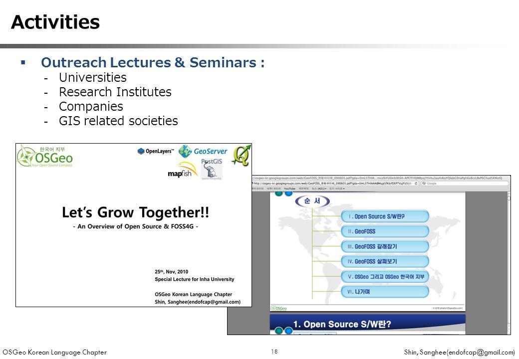 OSGeo Korean Language Chapter Shin, Sanghee(endofcap@gmail.com) 18 Activities Activities  Outreach Lectures & Seminars : -Universities -Research Institutes -Companies -GIS related societies