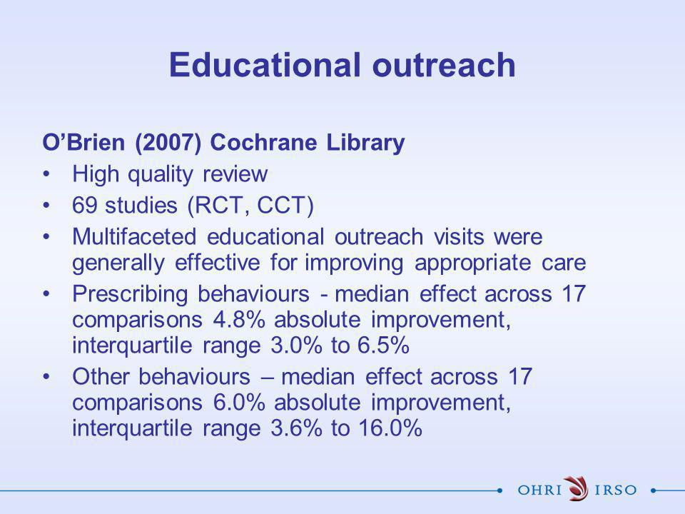 Educational outreach O'Brien (2007) Cochrane Library High quality review 69 studies (RCT, CCT) Multifaceted educational outreach visits were generally effective for improving appropriate care Prescribing behaviours - median effect across 17 comparisons 4.8% absolute improvement, interquartile range 3.0% to 6.5% Other behaviours – median effect across 17 comparisons 6.0% absolute improvement, interquartile range 3.6% to 16.0%