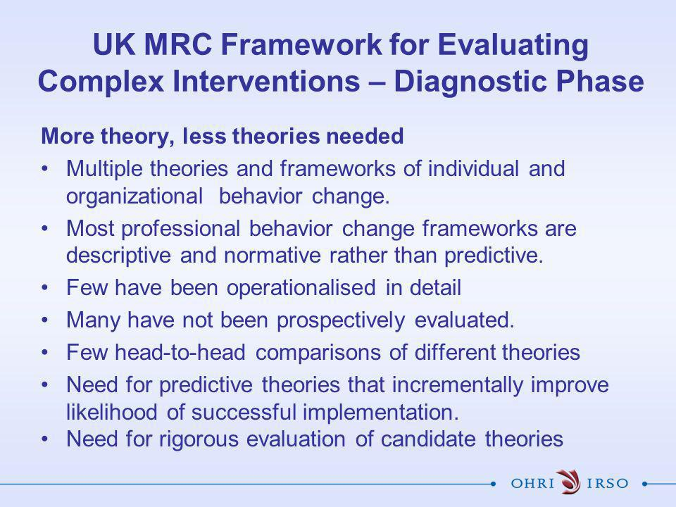UK MRC Framework for Evaluating Complex Interventions – Diagnostic Phase More theory, less theories needed Multiple theories and frameworks of individual and organizational behavior change.