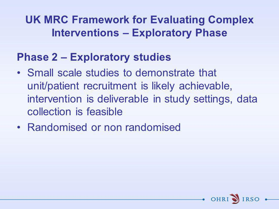 UK MRC Framework for Evaluating Complex Interventions – Exploratory Phase Phase 2 – Exploratory studies Small scale studies to demonstrate that unit/p