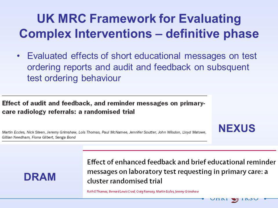UK MRC Framework for Evaluating Complex Interventions – definitive phase Evaluated effects of short educational messages on test ordering reports and audit and feedback on subsquent test ordering behaviour NEXUS DRAM