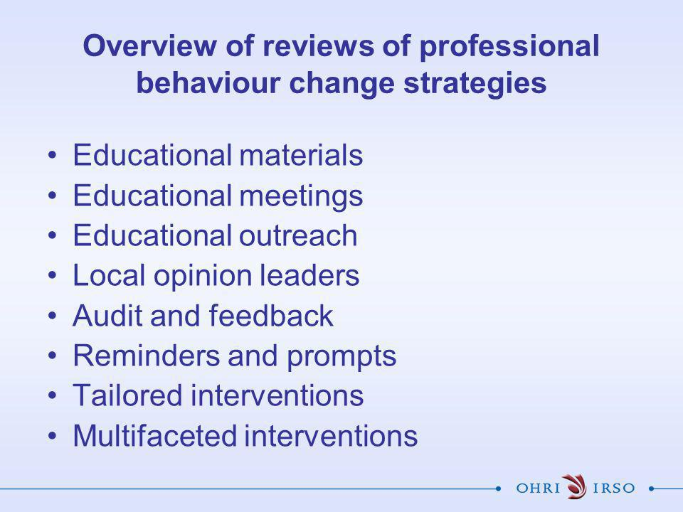 Overview of reviews of professional behaviour change strategies Educational materials Educational meetings Educational outreach Local opinion leaders