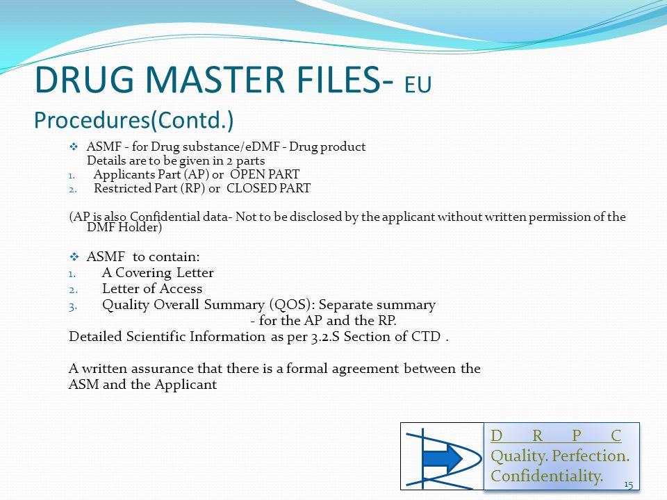 DRUG MASTER FILES- EU Procedures(Contd.)  ASMF - for Drug substance/eDMF - Drug product Details are to be given in 2 parts 1.