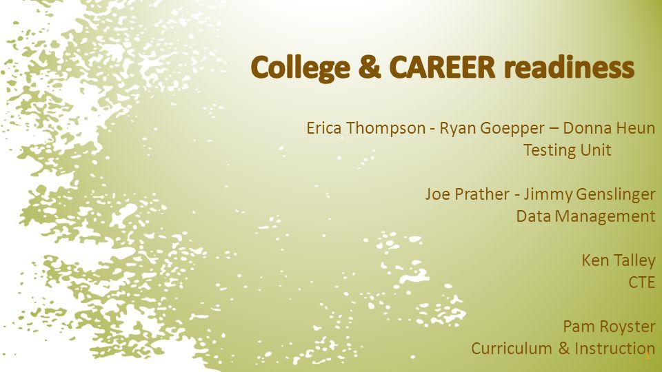 Erica Thompson - Ryan Goepper – Donna Heun Testing Unit Joe Prather - Jimmy Genslinger Data Management Ken Talley CTE Pam Royster Curriculum & Instruc