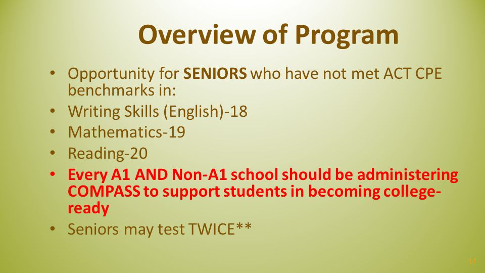 14 Overview of Program Opportunity for SENIORS who have not met ACT CPE benchmarks in: Writing Skills (English)-18 Mathematics-19 Reading-20 Every A1