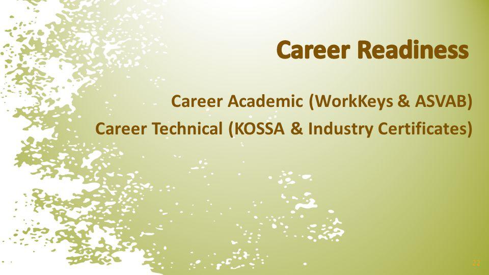Career Academic (WorkKeys & ASVAB) Career Technical (KOSSA & Industry Certificates) 22