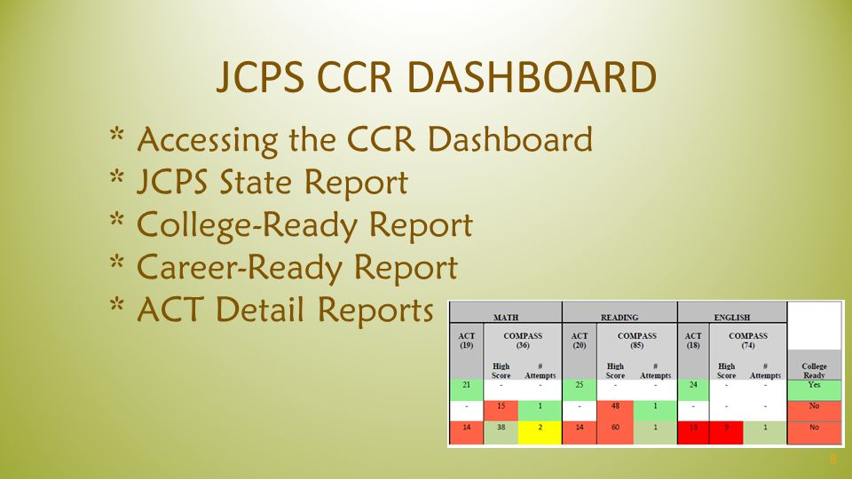 8 * Accessing the CCR Dashboard * JCPS State Report * College-Ready Report * Career-Ready Report * ACT Detail Reports JCPS CCR DASHBOARD