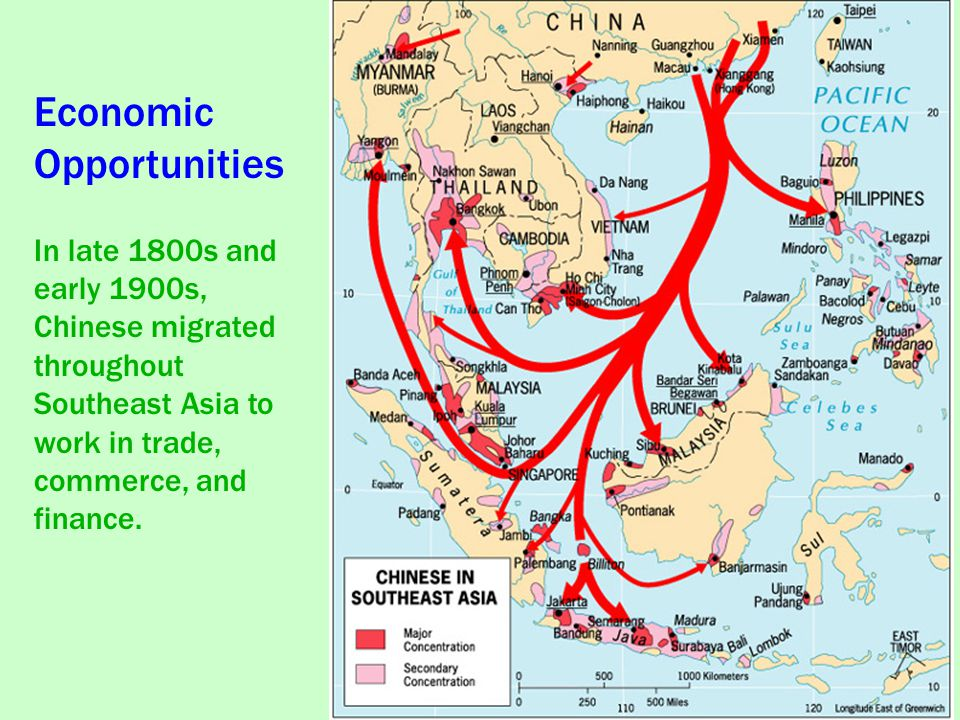 Economic Opportunities In late 1800s and early 1900s, Chinese migrated throughout Southeast Asia to work in trade, commerce, and finance.