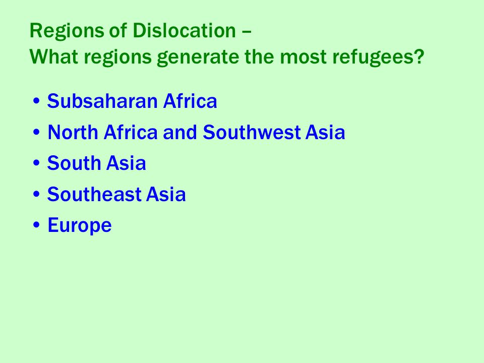 Subsaharan Africa North Africa and Southwest Asia South Asia Southeast Asia Europe Regions of Dislocation – What regions generate the most refugees?