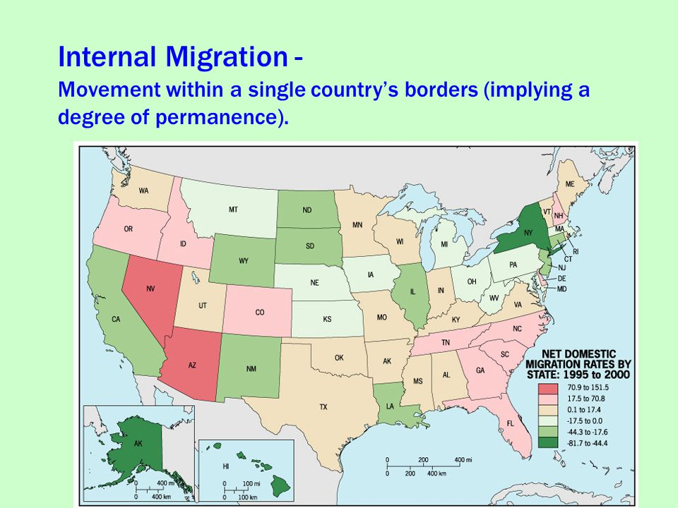 Internal Migration - Movement within a single country's borders (implying a degree of permanence).