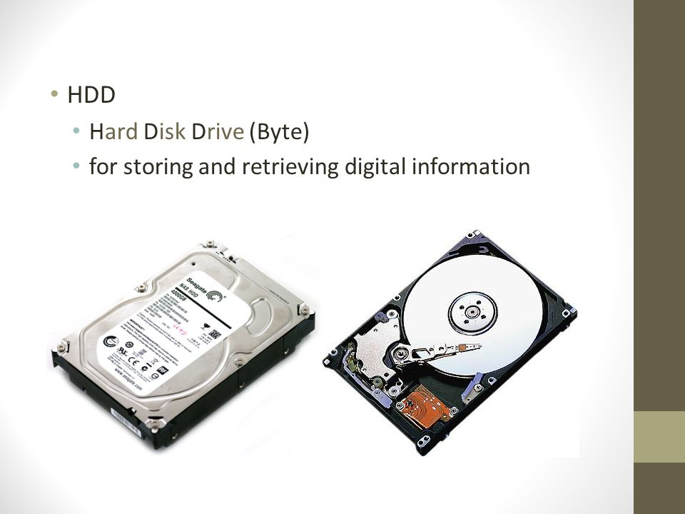 HDD Hard Disk Drive (Byte) for storing and retrieving digital information