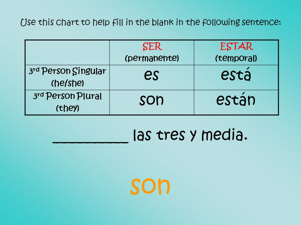 Use this chart to help fill in the blank in the following sentence: __________ las tres y media.