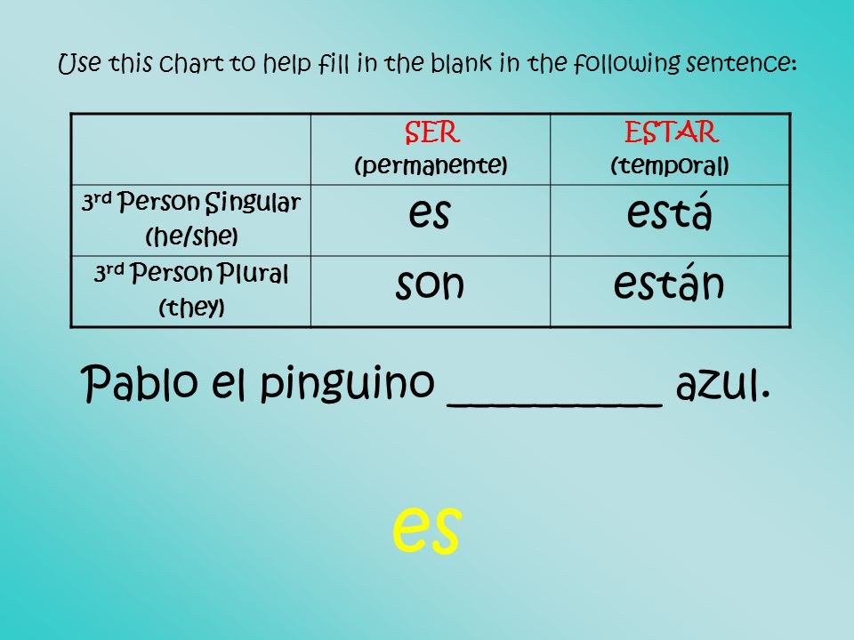 Use this chart to help fill in the blank in the following sentence: Pablo el pinguino __________ azul.