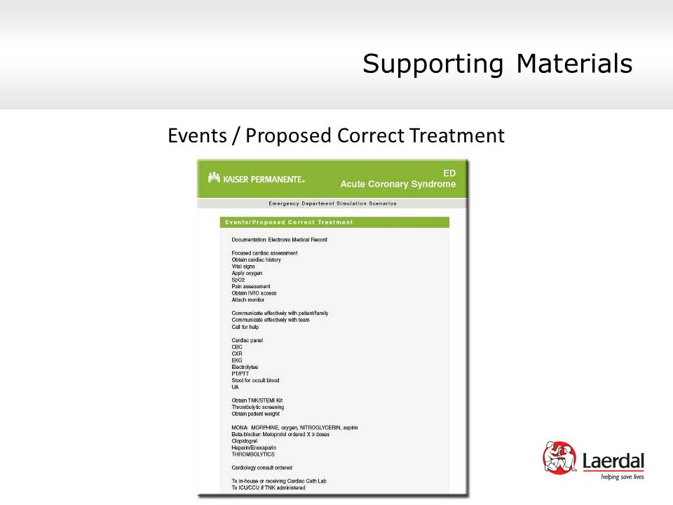 Supporting Materials Events / Proposed Correct Treatment