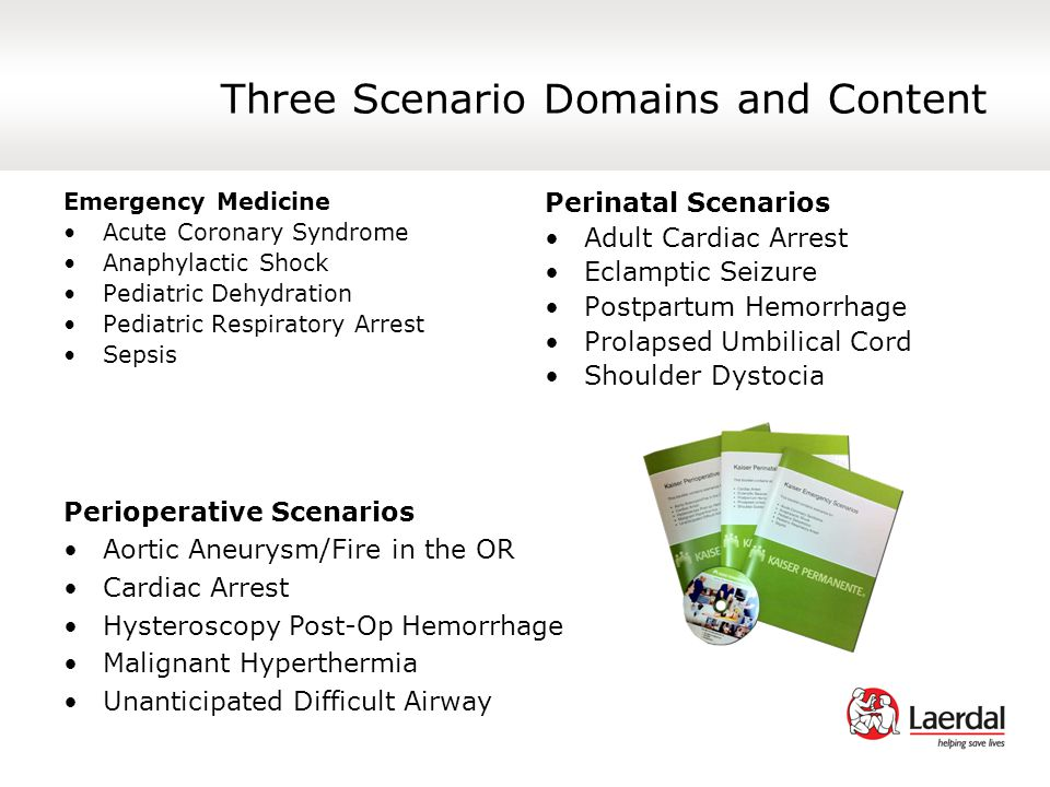 Three Scenario Domains and Content Emergency Medicine Acute Coronary Syndrome Anaphylactic Shock Pediatric Dehydration Pediatric Respiratory Arrest Sepsis Perinatal Scenarios Adult Cardiac Arrest Eclamptic Seizure Postpartum Hemorrhage Prolapsed Umbilical Cord Shoulder Dystocia Perioperative Scenarios Aortic Aneurysm/Fire in the OR Cardiac Arrest Hysteroscopy Post-Op Hemorrhage Malignant Hyperthermia Unanticipated Difficult Airway
