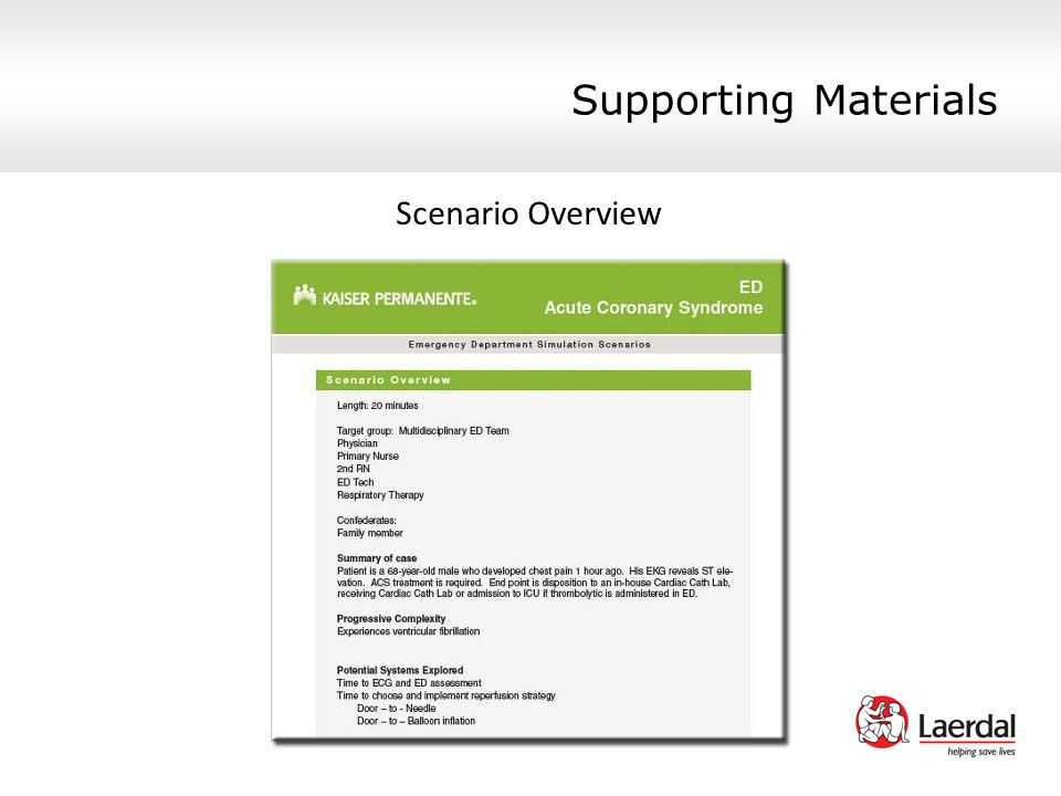 Supporting Materials Scenario Overview