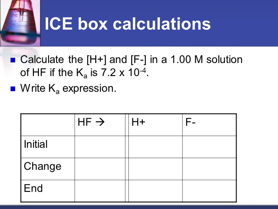 ICE box calculations Calculate the [H+] and [F-] in a 1.00 M solution of HF if the K a is 7.2 x 10 -4.