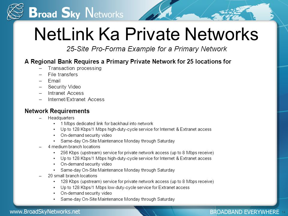 NetLink Ka Private Networks 25-Site Pro-Forma Example for a Primary Network A Regional Bank Requires a Primary Private Network for 25 locations for –Transaction processing –File transfers –Email –Security Video –Intranet Access –Internet/Extranet Access Network Requirements –Headquarters 1 Mbps dedicated link for backhaul into network Up to 128 Kbps/1 Mbps high-duty-cycle service for Internet & Extranet access On-demand security video Same-day On-Site Maintenance Monday through Saturday –4 medium branch locations 256 Kbps (upstream) service for private network access (up to 8 Mbps receive) Up to 128 Kbps/1 Mbps high-duty-cycle service for Internet & Extranet access On-demand security video Same-day On-Site Maintenance Monday through Saturday –20 small branch locations 128 Kbps (upstream) service for private network access (up to 8 Mbps receive) Up to 128 Kbps/1 Mbps low-duty-cycle service for Extranet access On-demand security video Same-day On-Site Maintenance Monday through Saturday 14