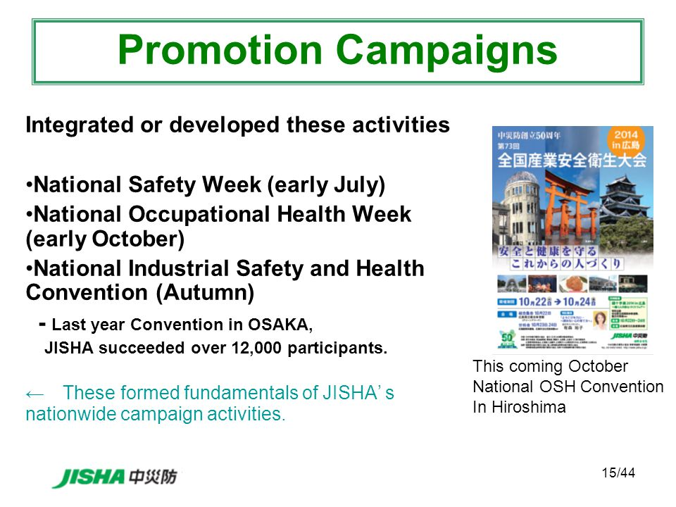 15/44 Integrated or developed these activities National Safety Week (early July) National Occupational Health Week (early October) National Industrial Safety and Health Convention (Autumn) - Last year Convention in OSAKA, JISHA succeeded over 12,000 participants.