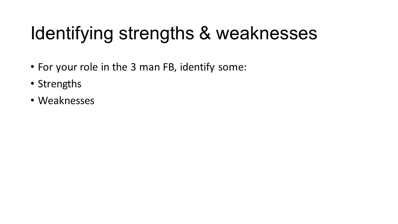 Identifying strengths & weaknesses For your role in the 3 man FB, identify some: Strengths Weaknesses