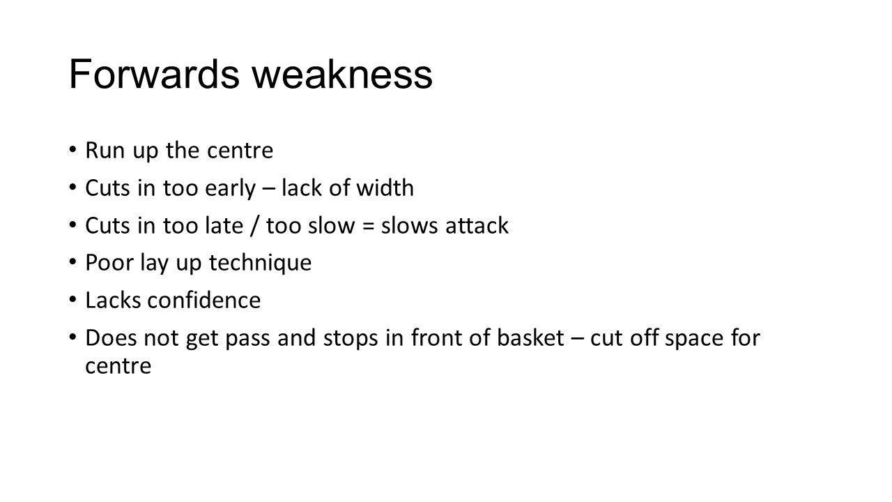 Forwards weakness Run up the centre Cuts in too early – lack of width Cuts in too late / too slow = slows attack Poor lay up technique Lacks confidence Does not get pass and stops in front of basket – cut off space for centre
