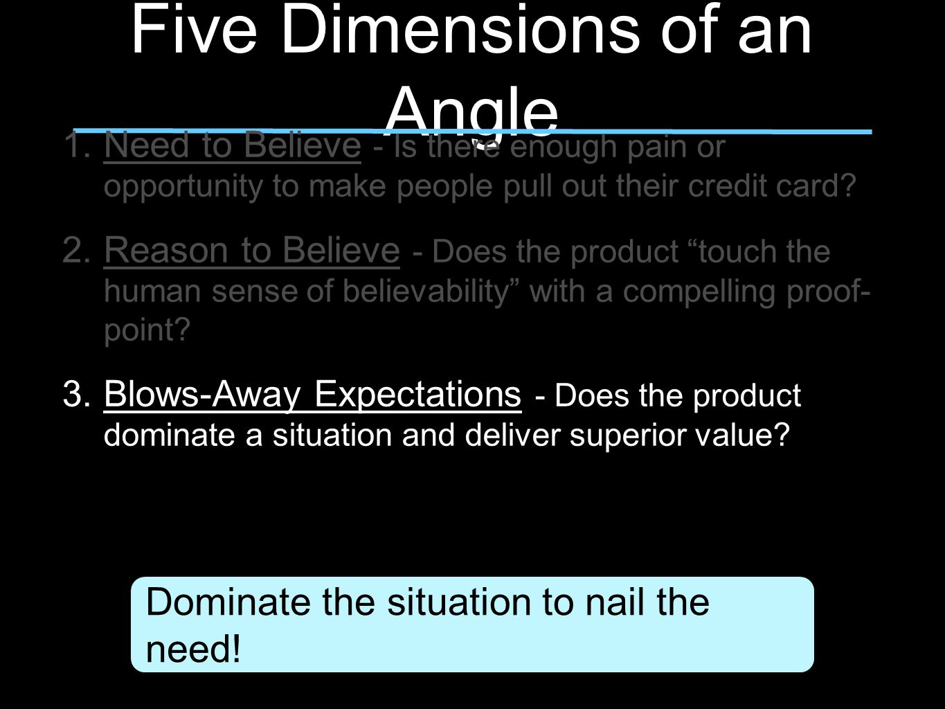 Five Dimensions of an Angle 1.Need to Believe - Is there enough pain or opportunity to make people pull out their credit card.