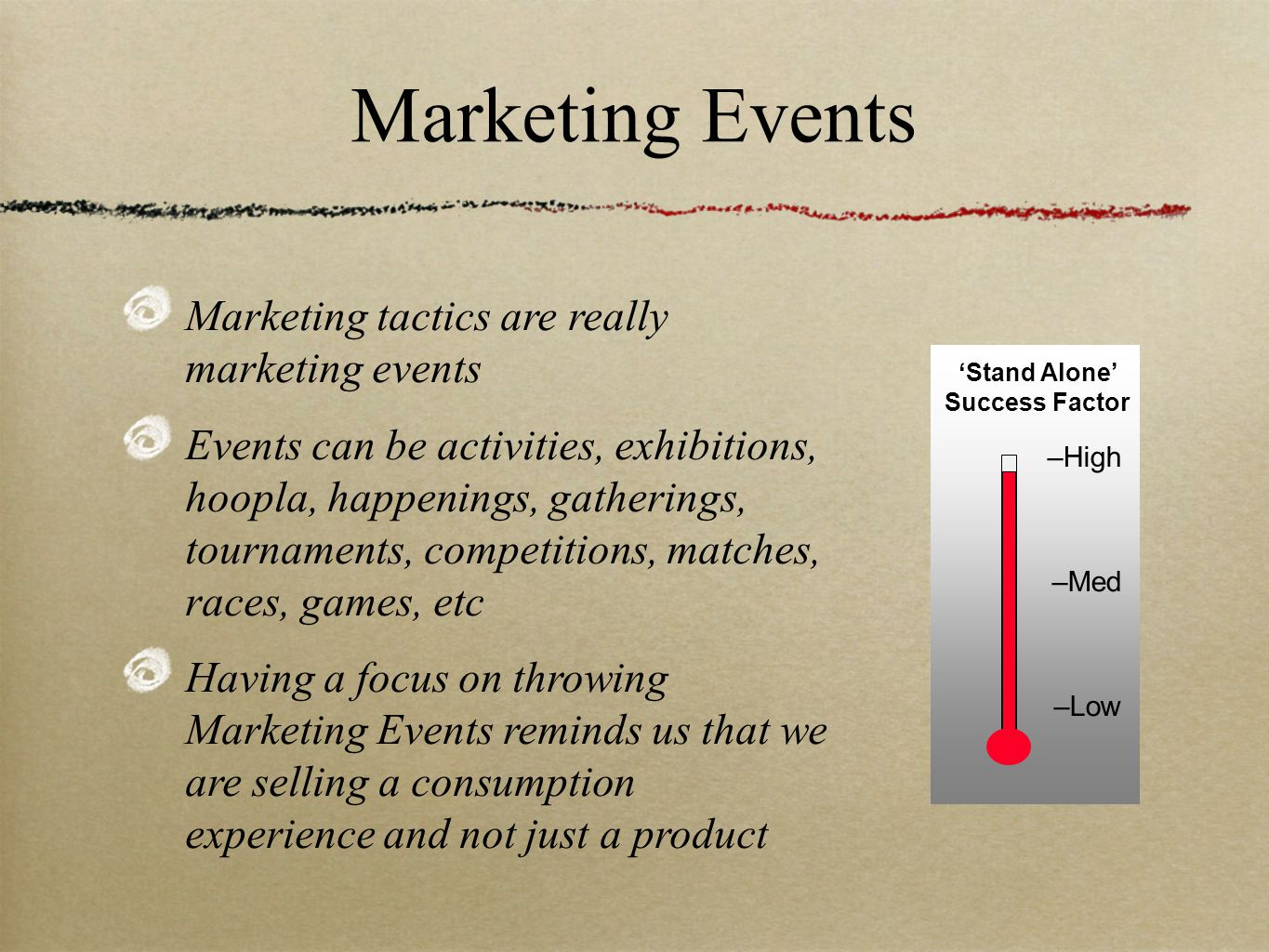 –High –Med –Low Marketing Events Marketing tactics are really marketing events Events can be activities, exhibitions, hoopla, happenings, gatherings, tournaments, competitions, matches, races, games, etc Having a focus on throwing Marketing Events reminds us that we are selling a consumption experience and not just a product 'Stand Alone' Success Factor