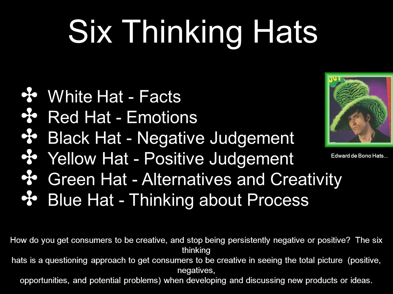 Six Thinking Hats ✤ White Hat - Facts ✤ Red Hat - Emotions ✤ Black Hat - Negative Judgement ✤ Yellow Hat - Positive Judgement ✤ Green Hat - Alternatives and Creativity ✤ Blue Hat - Thinking about Process Edward de Bono Hats...