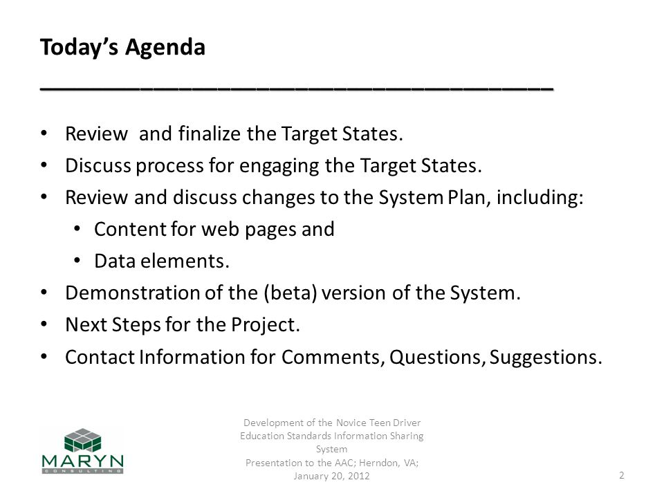 ________________________________________ Today's Agenda ________________________________________ Review and finalize the Target States. Discuss proces