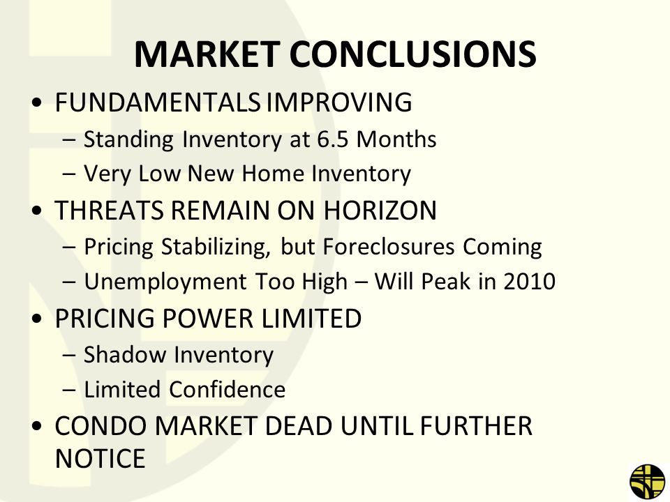 MARKET CONCLUSIONS FUNDAMENTALS IMPROVING –Standing Inventory at 6.5 Months –Very Low New Home Inventory THREATS REMAIN ON HORIZON –Pricing Stabilizin