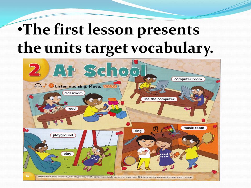 The vocabulary lesson presents vocabulary with photographs. There are eight new words per units.