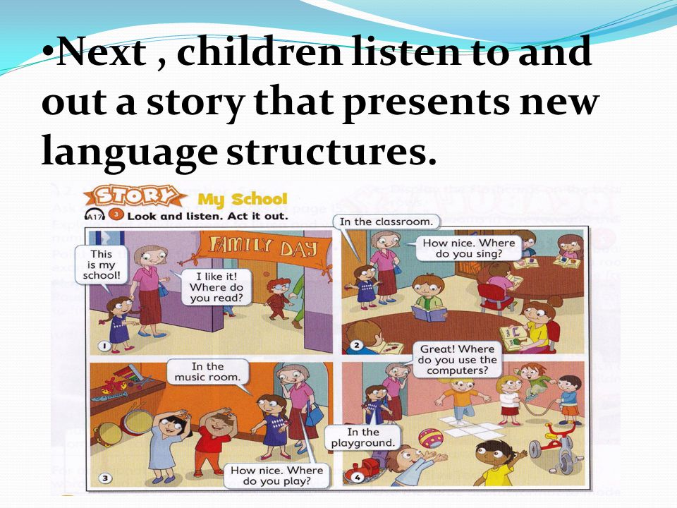 Next, children listen to and out a story that presents new language structures.