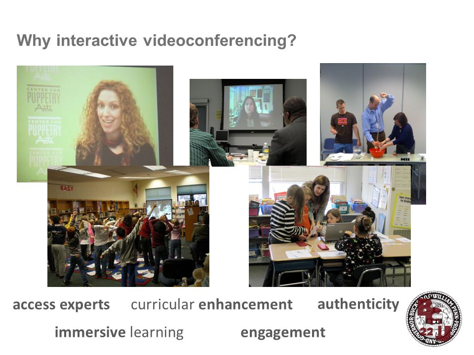 Why interactive videoconferencing? Interactive Videoconferencing University of Delaware engagementimmersive learning curricular enhancement authentici