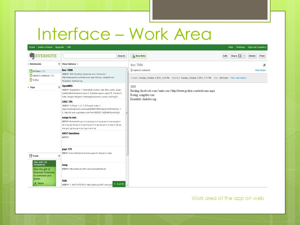 Interface – Work Area Work area of the app on web