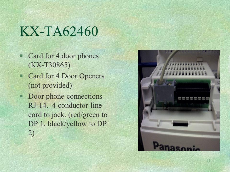 11 KX-TA62460 §Card for 4 door phones (KX-T30865) §Card for 4 Door Openers (not provided) §Door phone connections RJ-14.