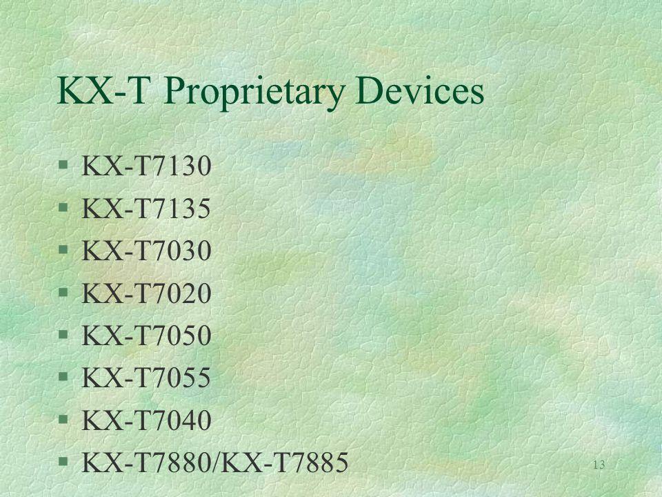 13 KX-T Proprietary Devices §KX-T7130 §KX-T7135 §KX-T7030 §KX-T7020 §KX-T7050 §KX-T7055 §KX-T7040 §KX-T7880/KX-T7885