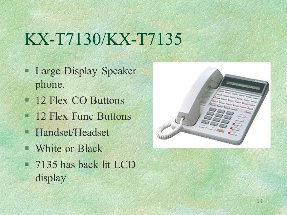 14 KX-T7130/KX-T7135 §Large Display Speaker phone.