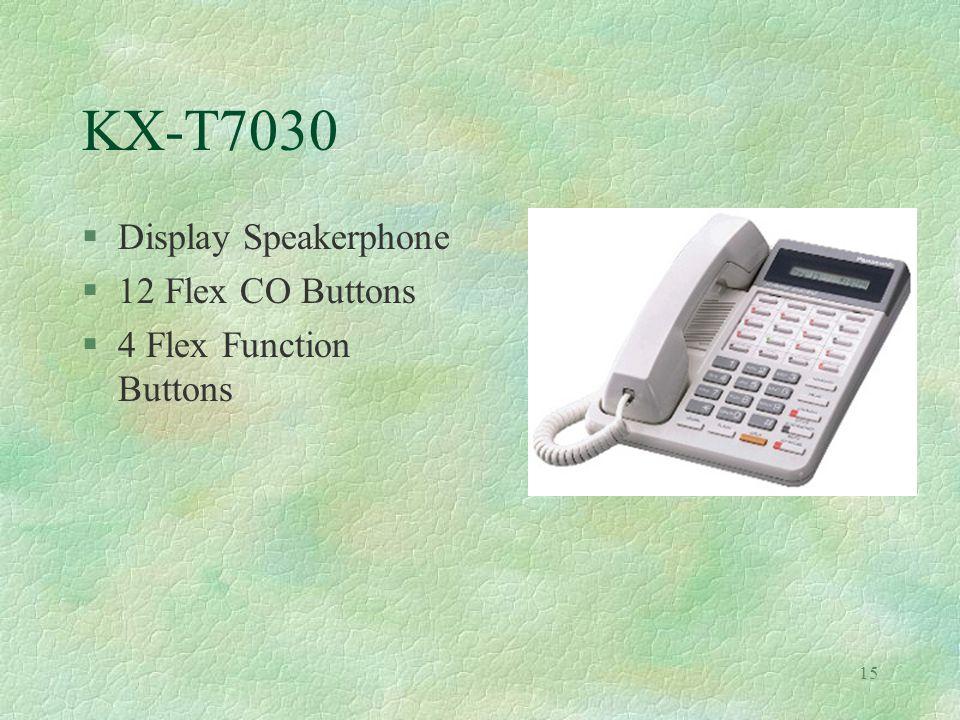 15 KX-T7030 §Display Speakerphone §12 Flex CO Buttons §4 Flex Function Buttons