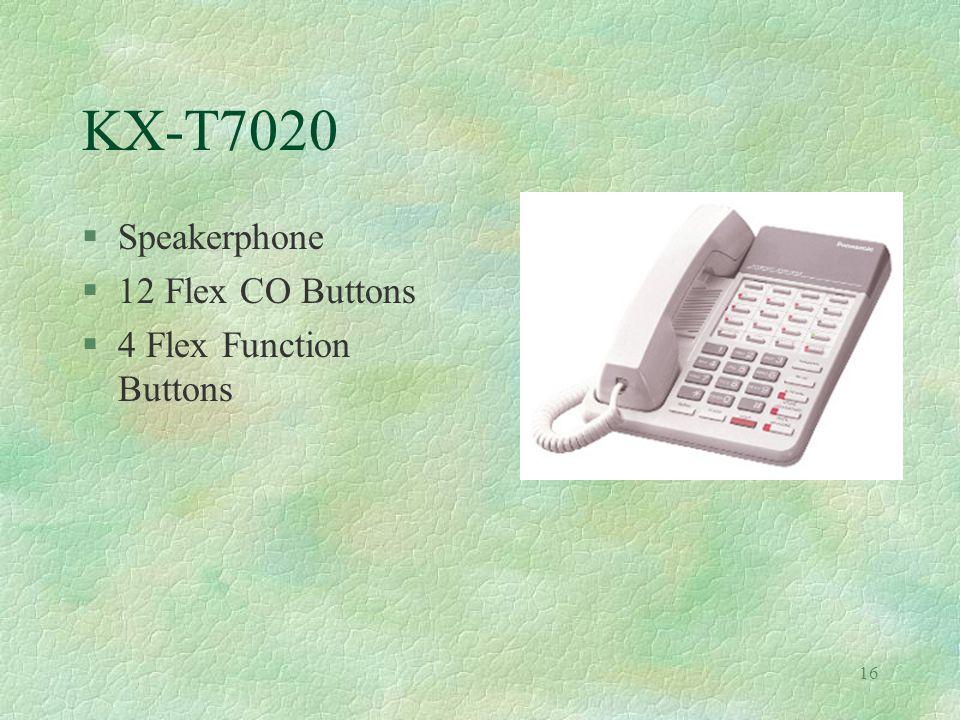 16 KX-T7020 §Speakerphone §12 Flex CO Buttons §4 Flex Function Buttons