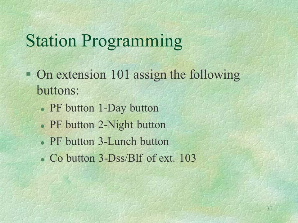 37 Station Programming §On extension 101 assign the following buttons: l PF button 1-Day button l PF button 2-Night button l PF button 3-Lunch button l Co button 3-Dss/Blf of ext.