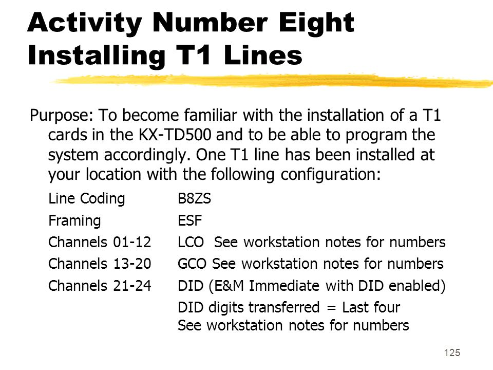 125 Activity Number Eight Installing T1 Lines Purpose: To become familiar with the installation of a T1 cards in the KX-TD500 and to be able to progra