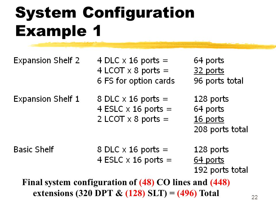 22 System Configuration Example 1 Final system configuration of (48) CO lines and (448) extensions (320 DPT & (128) SLT) = (496) Total