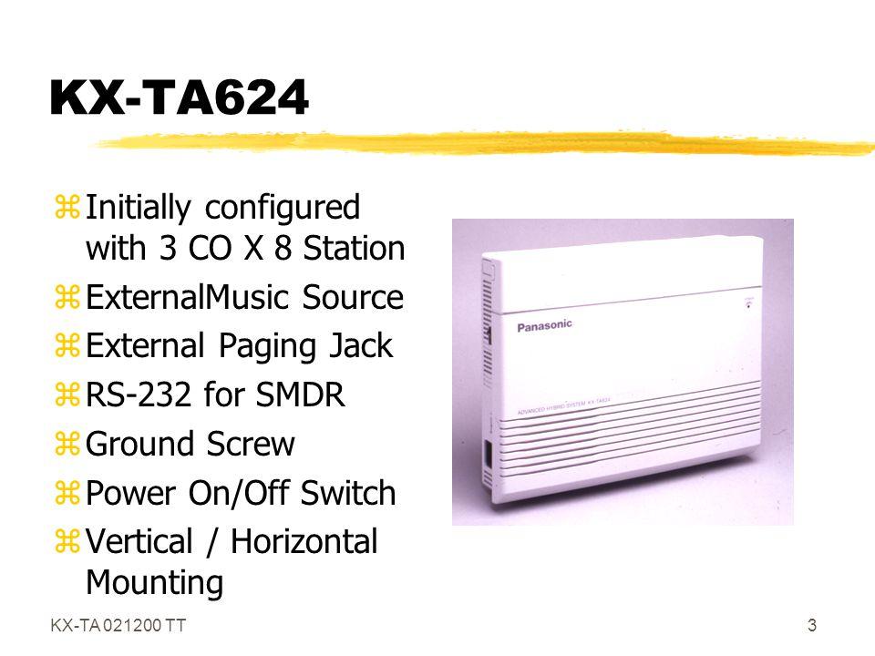 KX-TA 021200 TT4 KX-TA624 System Connections z1 External Paging Jack (Radio Shack Cat.