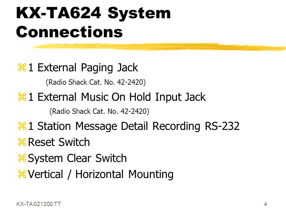 KX-TA 021200 TT15 Caller ID zRequires the KX-TA62493 card.