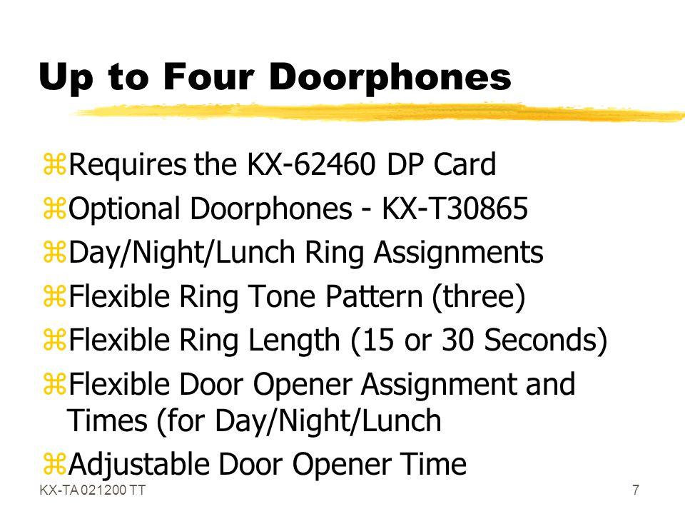 KX-TA 021200 TT8 KX-T30865 zDoor phone unit zRing- Day, Night, Lunch zDoor Opener Day, Night, Lunch