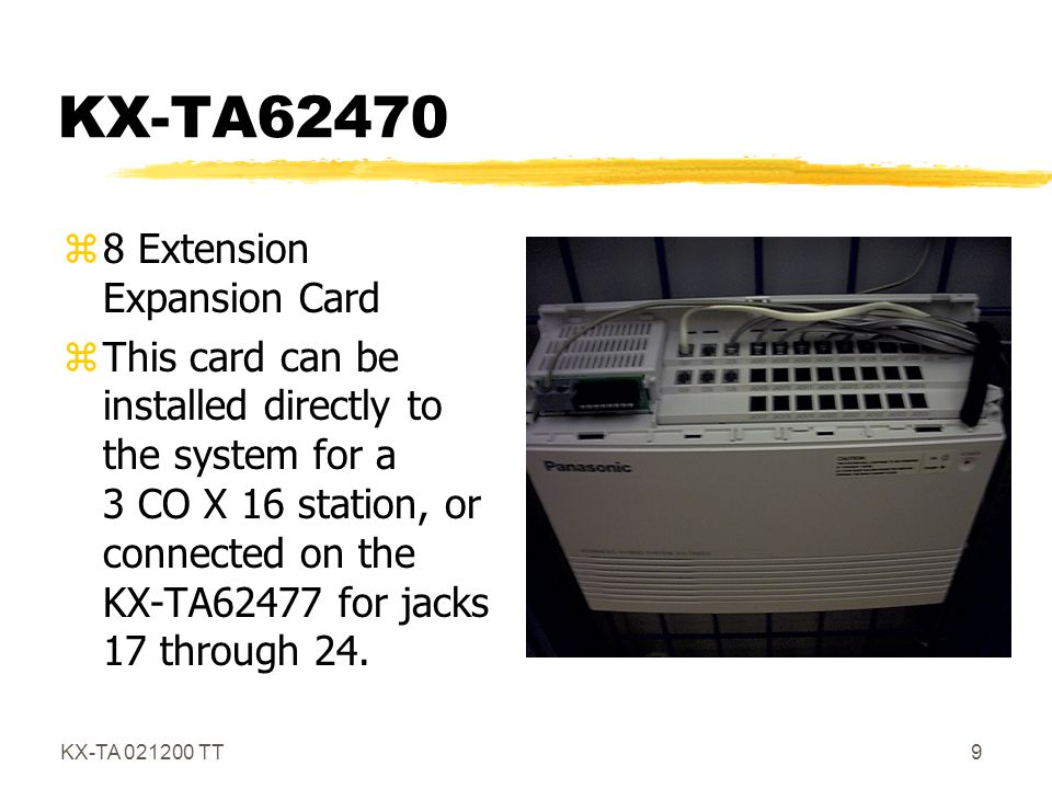 KX-TA 021200 TT30 TAM Extension zAssign a jack for TAM (Sys 611) zTAM answers CO, dial station connected to TAM, hear busy, dial 4 .