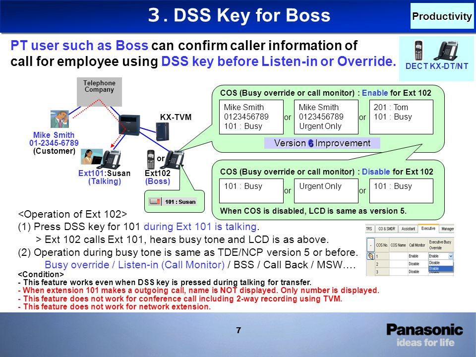 8 Version 6 Improvement (1) Press DSS key for 101 during Ext 101 has incoming call.