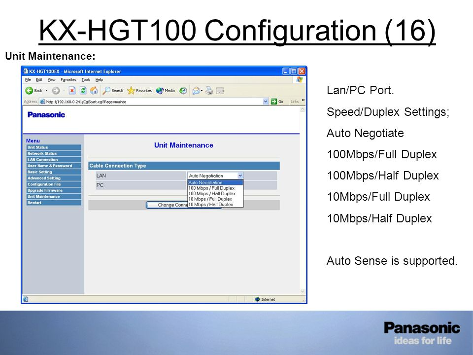 KX-HGT100 Configuration (16) Unit Maintenance: Lan/PC Port.